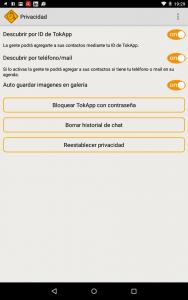 Opciones App mensajería