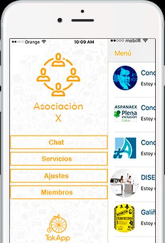 Captura de pantalla de TokApp en asociacion