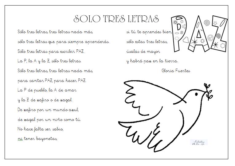 Poesía Paz, día escolar de la paz y la no violencia