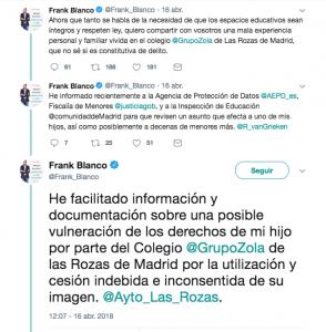 Tweet Frank Blanco sobre privacidad