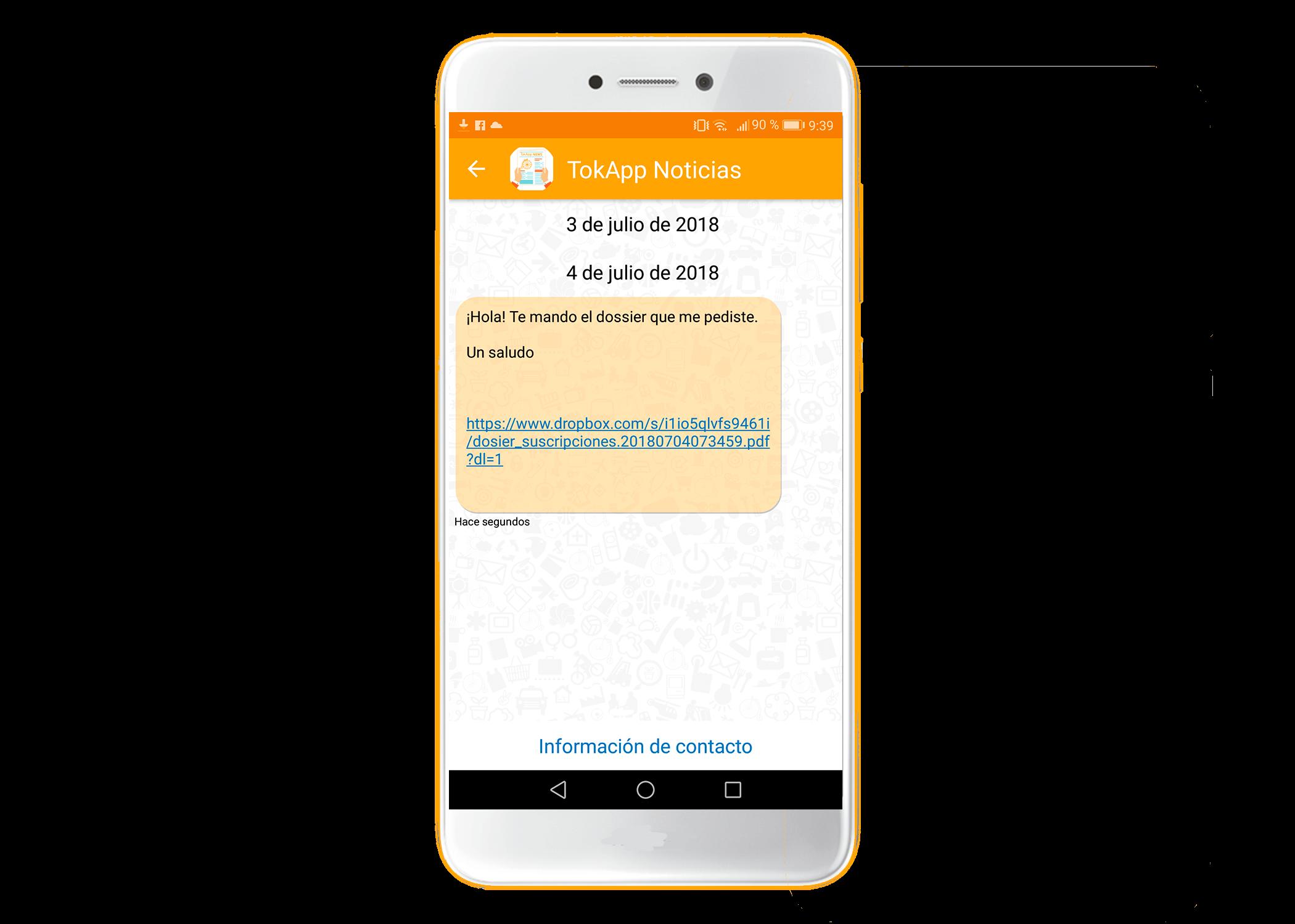 Abrir PDF en móvil con app de mensajería instantánea TokApp