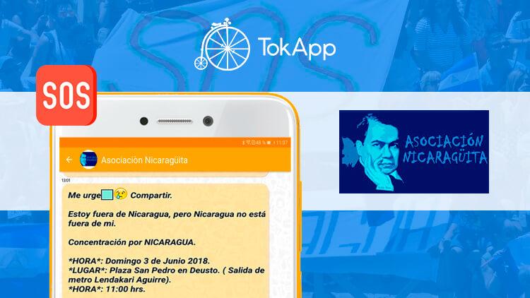 Asociación Nicaragüita: La voz de Nicaragua en España usa TokApp