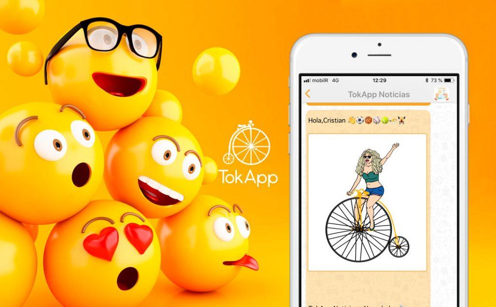 envio imagenes y emojis tokapp