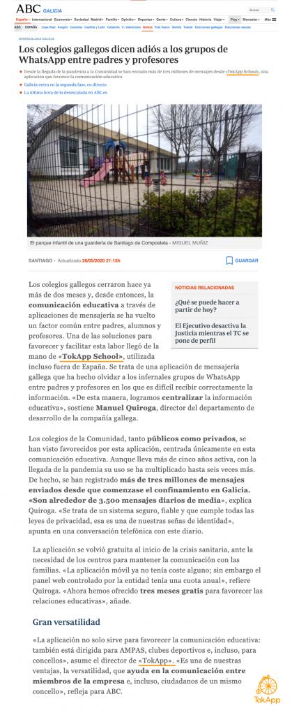 TokApp School en ABC Galicia