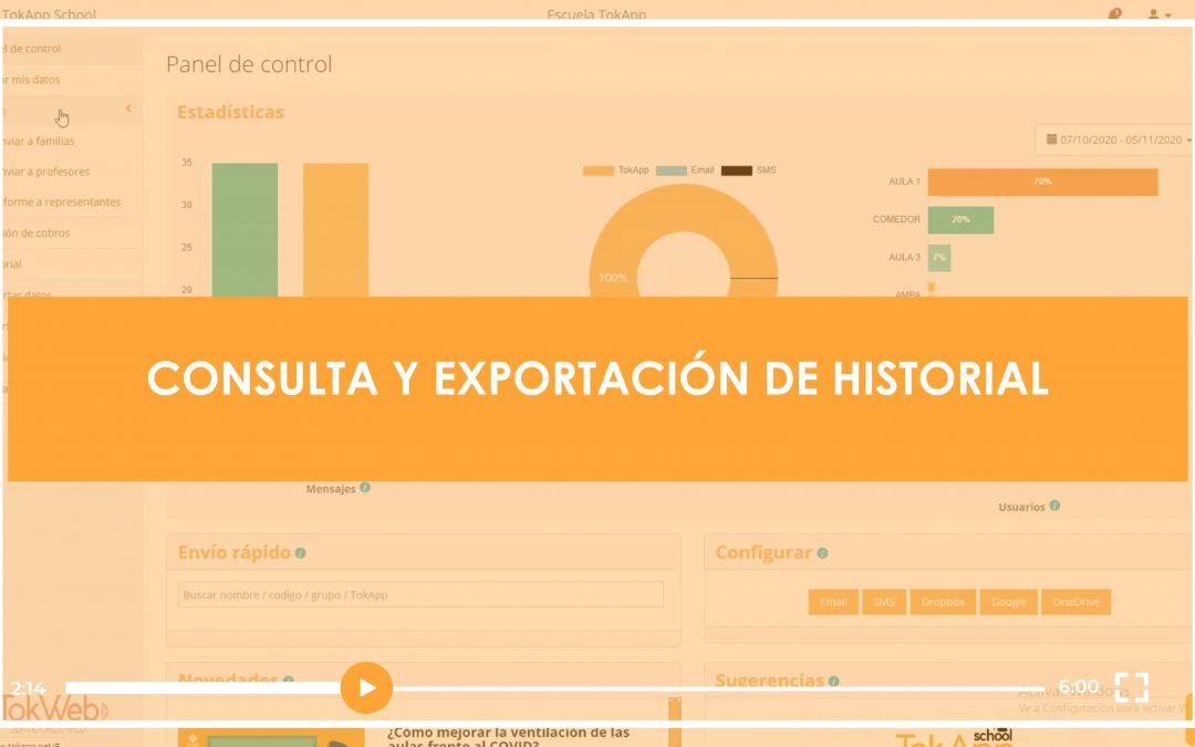 [VIDEOTUTORIAL] Consulta y exportación de historial